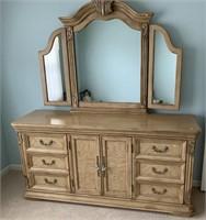 Provincial style dresser w/3 panel mirror