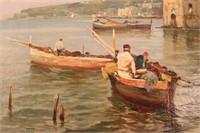 19th Century Fishing Scene Oil Painting