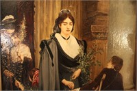 """Antique Oil Paiting """"Spanish Lady and Beggar"""