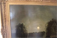 Oil Painting of Moonlight Water Scene