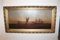 Oil Painting of Ship Sea Scape