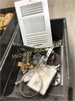 METAL BOX WITH CHAIN/ MISC HARDWARE ITEMS