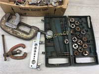 BOX LOT OF PIPE CUTTERS AND FLARING TOOLS