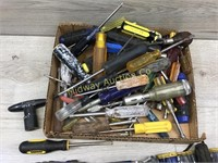 BOX OF SCREWDRIVERS AND NUT DRIVERS