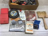 BOX LOT OF DRILL BITS AND GRINDING WHEELS/ MISC