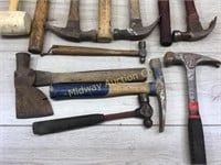 BOX LOT OF APPROX 12 HAMMERS AND MALLETS