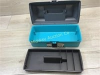 "PLANO 13"" TEAL TOOL BOX AND PLASTIC ORGANIZER"