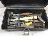 OLD PAL TOOL BOX FILLED WITH VARIOUS HARDWARE