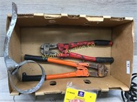 BOX LOT OF SNIPS FILTER WRENCHES AND SAUDERING GUN