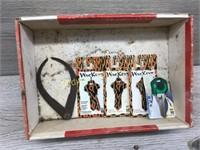 BOX LOT VARIOUS MEASURING TOOLS AND DECORATIVE KEY