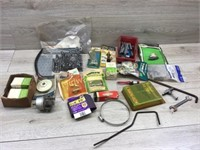 BOX LOT OF MISC MOWER PARTS AND HARDWARE