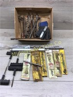 BOX LOT OF TIRE PATCHES/ SPECIALTY WOOD DRILL BITS