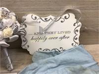 OX OF WEDDING ITEMS/CAKE KNIFE/ PORCELAIN DOLL/ MI
