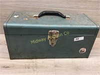 GREEN METAL TOOL BOX WITH VARIOUS HAND TOOLS SCREW