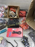 BOX OF ELECTIRICAL PARTS/ WIRE ENDS/ CLAMPING TOOL