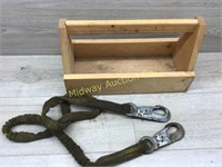 WOOD TOOL BOX WITH BAG OF TOW STRAP WITH HOOKS