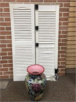 Large Colorful Vase and White Shutters