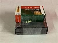 150rds Asst Brands 7.62x25 Ammunition