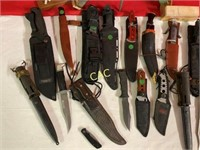 Box Lot of Asst. Knive, Sheaths and sharpeners