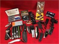 Box Lot of Asst Pocket Knives & Sheaths