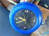 Retro Blue Neon Battery Wall Clock