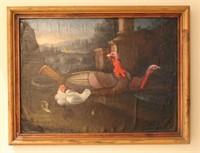 Oil painting of Turkeys