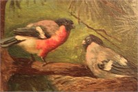 2 Birds on branch signed B. Haller Oil Painting