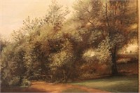 Lake and Trail Landscape Oil Painting