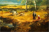 Farmers with Animals on a Bridge Oil Painting