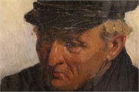 Old Fisherman Oil Painting by Petrus Teunissen