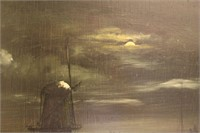 Night Time Windmill Moon Landscape Oil Painting