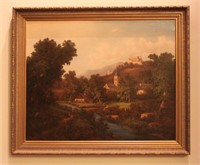 Countryside Landscape w/ Buildings Oil Painting