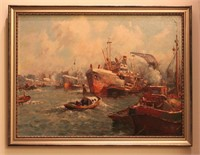Ships in the Ocean Oil Painting