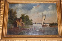 Lot of 2 Riverscape Oil Paintings