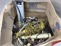 BOX LOT OF EXTENSION CORDS/  MULTI STRIPS/ MISC