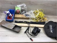 BOX LOT OF STRING/ ROPE/ ORGANIZER TRAY/ MISC