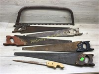 STACK OF 6 HAND SAWS AND MITRE BOX