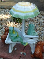 Concrete Frogs on Bench Yard Decor