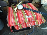 (2) Patio Cushions & Deer Snow Gauge/Thermometer