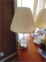 Pair of Matching Glass Lamps w/Flower Design