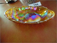 Carnival Glass Dish & Crystal Handled Dish