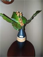 Decorative Black Vase & Artificial Plant