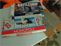 Monopoly, Battleship, Wood Checkerboard