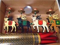 Metal Santa Sleigh & Reindeer Candle Holder,