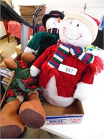 Christmas Plush Deco Snowmen & Moose