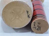 2 sculptures asiatiques signées en bois