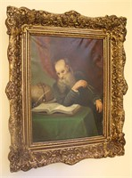 Old Man Studying Book Oil Painting Signed J Ratsma