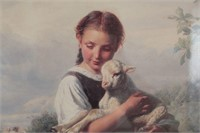 Girl w/ Sheep in the Country Oil Painting