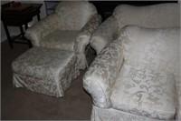 White Floral 4 Piece Sofa Set