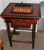 2 Drawer Chess Table w/ Wooden Exotic Chess Pieces
